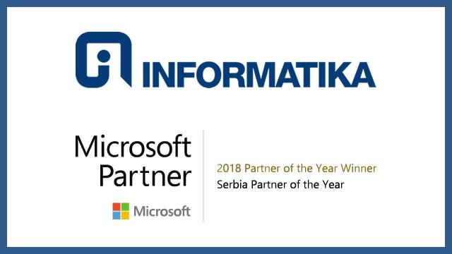 Preduzeće Informatika a.d. dobilo je priznanje Microsoft partner godine 2018 za Srbiju, objavila je kompanija Microsoft. Godišnje nagrade predstavljaju priznanja za najznačajnije Microsoft partnere ukazujući na njihovu izvrsnost u inoviranju i implementaciji korisničkih rešenja zasnovanih na tehnologiji Microsofta.